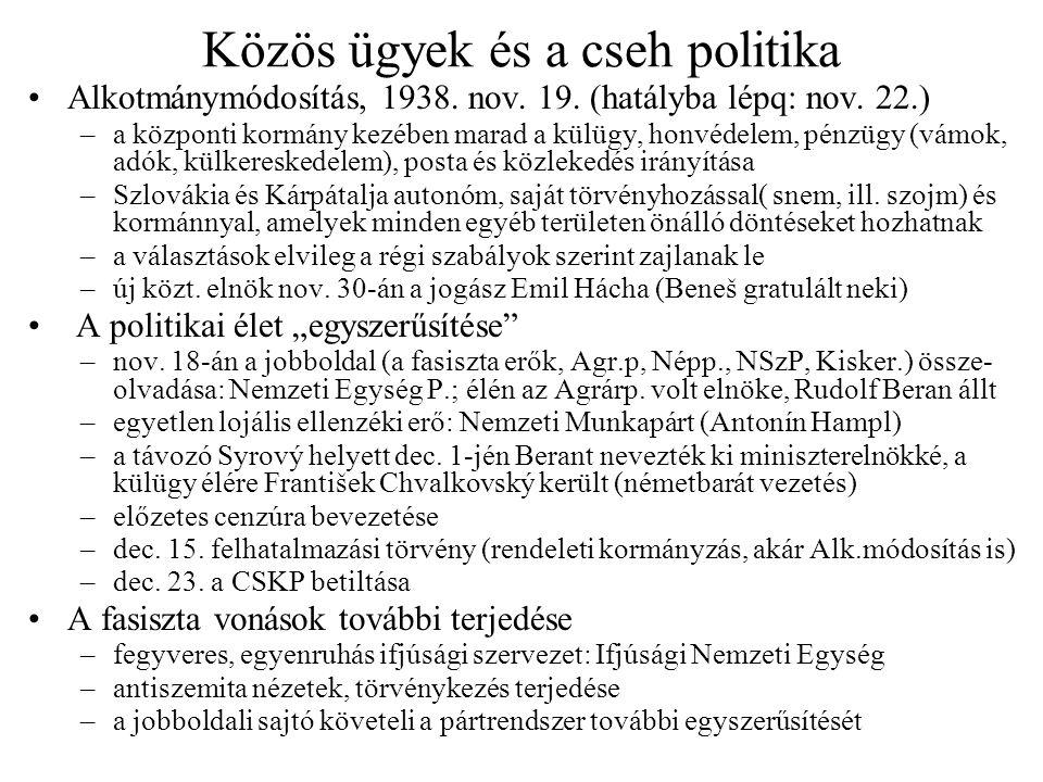 Közös ügyek és a cseh politika