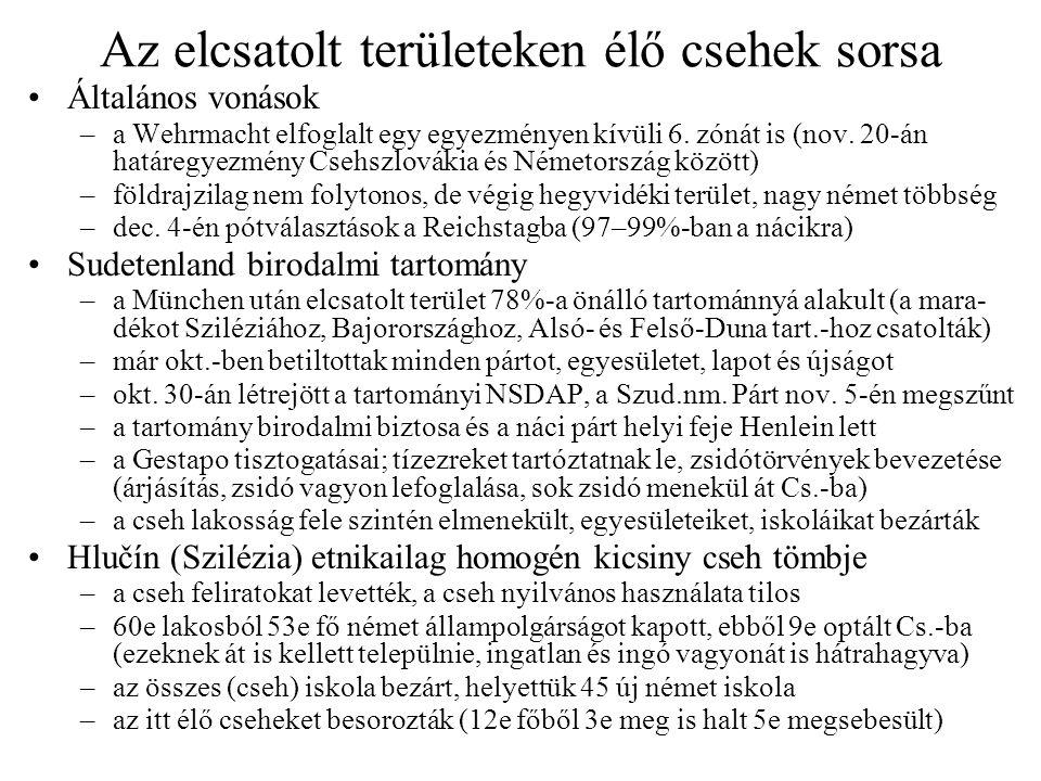 Az elcsatolt területeken élő csehek sorsa