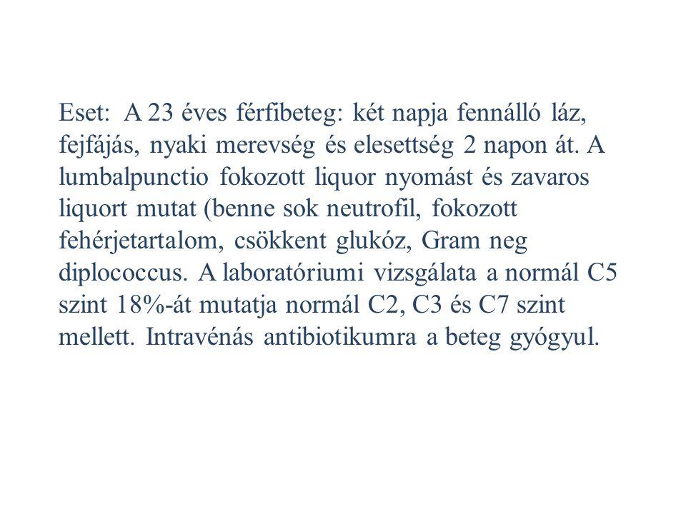 Eset: A 23 éves férfibeteg: két napja fennálló láz, fejfájás, nyaki merevség és elesettség 2 napon át.