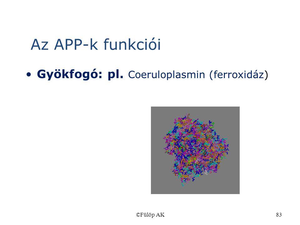 Az APP-k funkciói Gyökfogó: pl. Coeruloplasmin (ferroxidáz) ©Fülöp AK