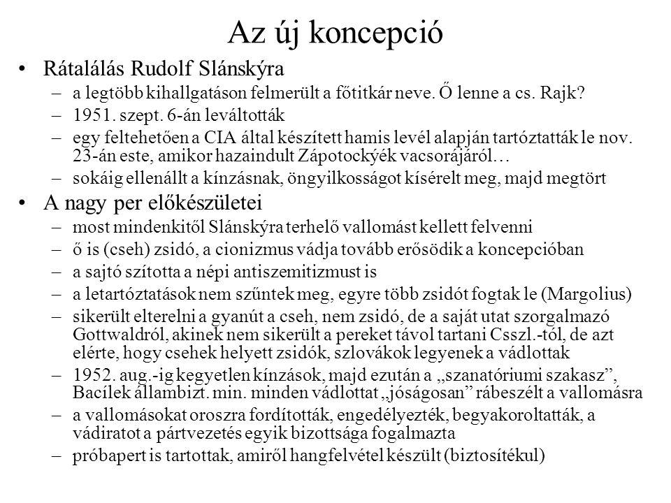 Az új koncepció Rátalálás Rudolf Slánskýra A nagy per előkészületei