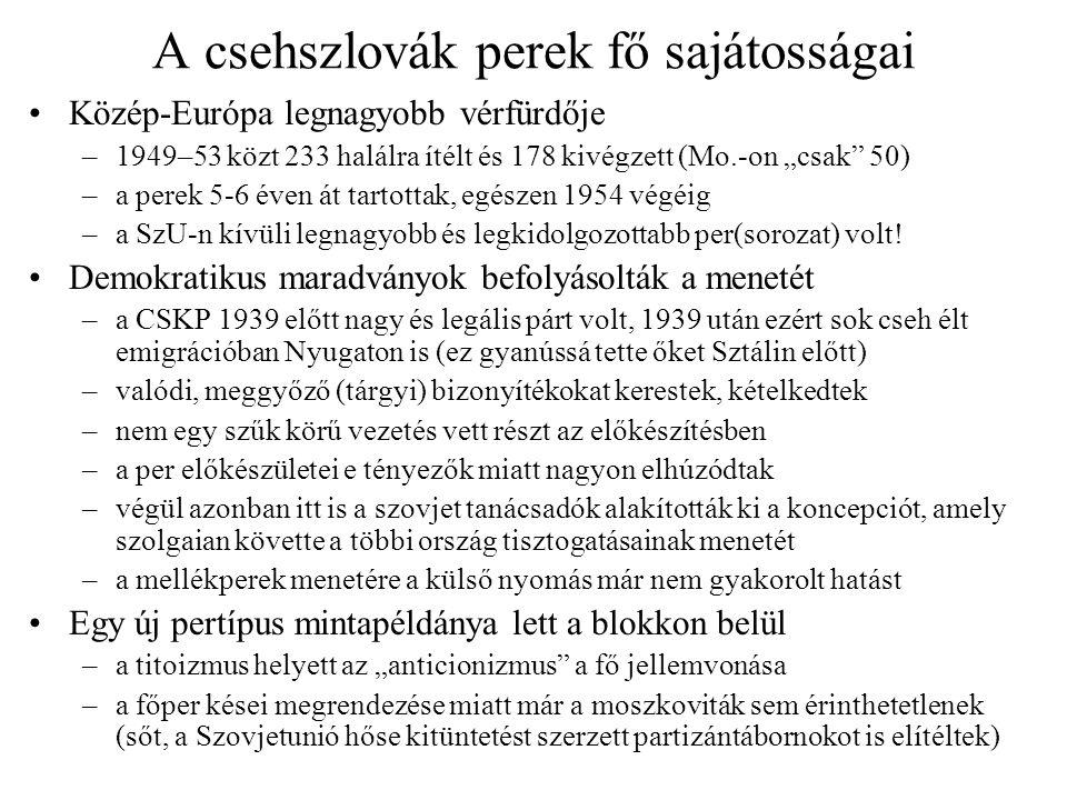 A csehszlovák perek fő sajátosságai