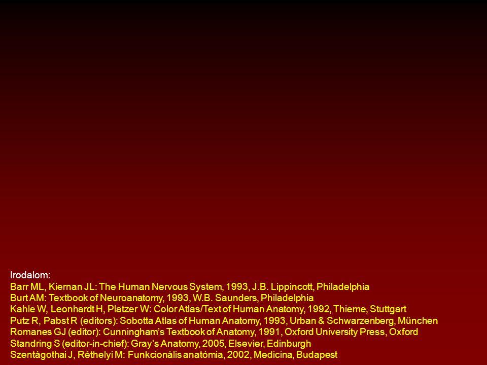 Irodalom: Barr ML, Kiernan JL: The Human Nervous System, 1993, J.B. Lippincott, Philadelphia.