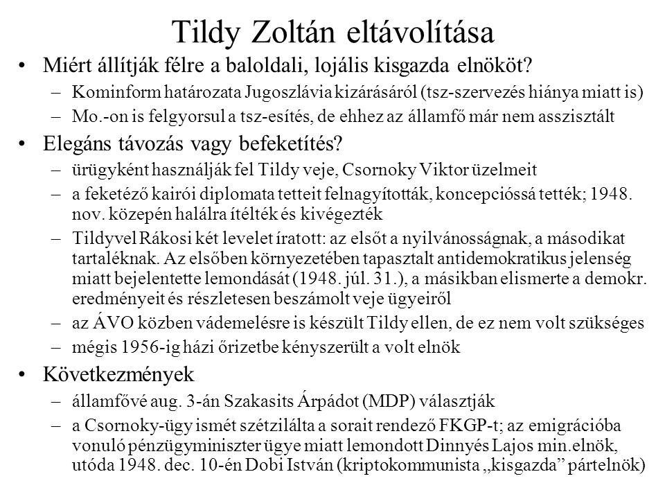 Tildy Zoltán eltávolítása