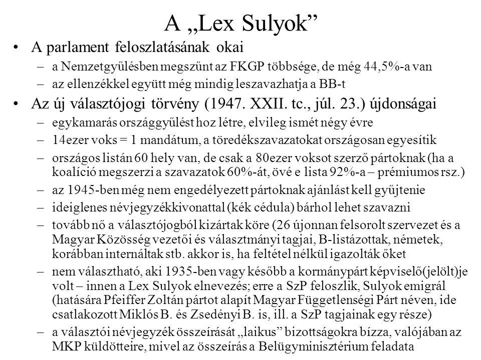"""A """"Lex Sulyok A parlament feloszlatásának okai"""