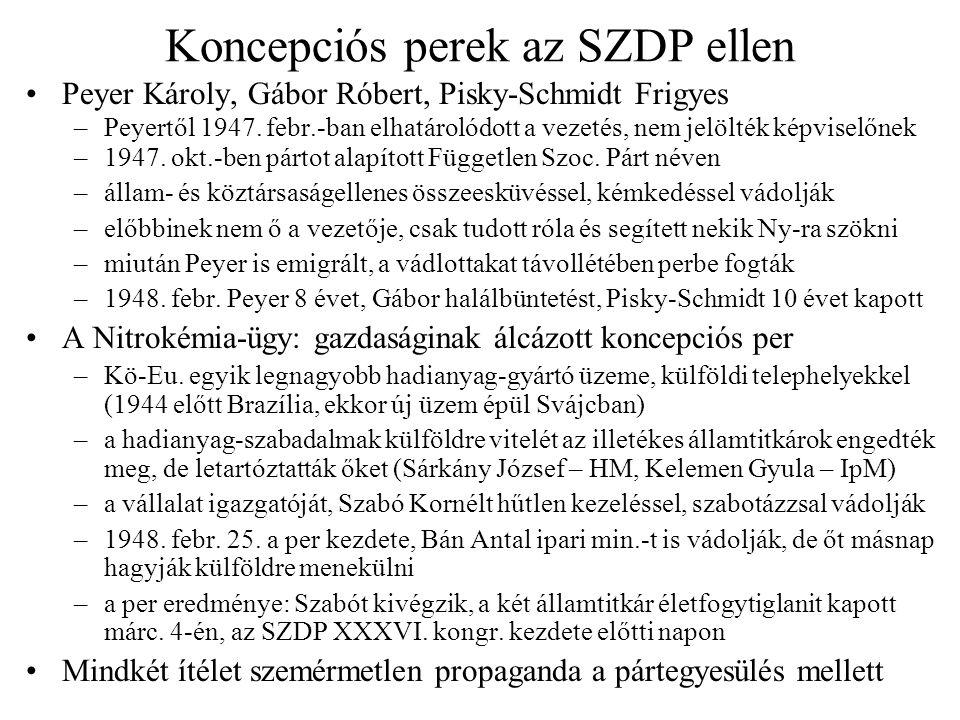 Koncepciós perek az SZDP ellen