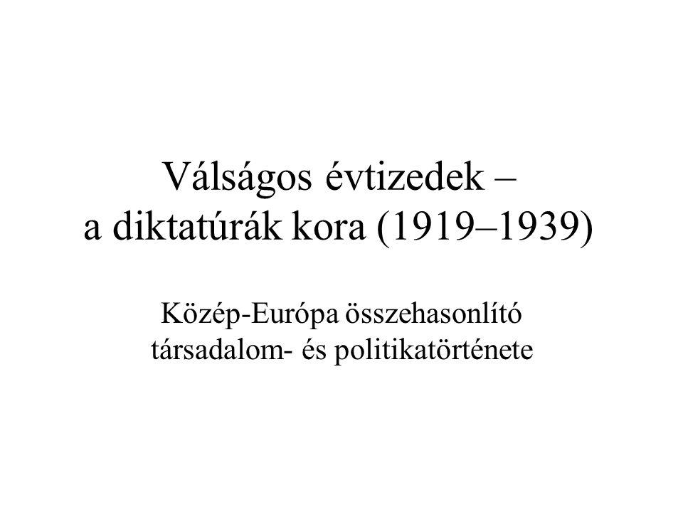 Válságos évtizedek – a diktatúrák kora (1919–1939)