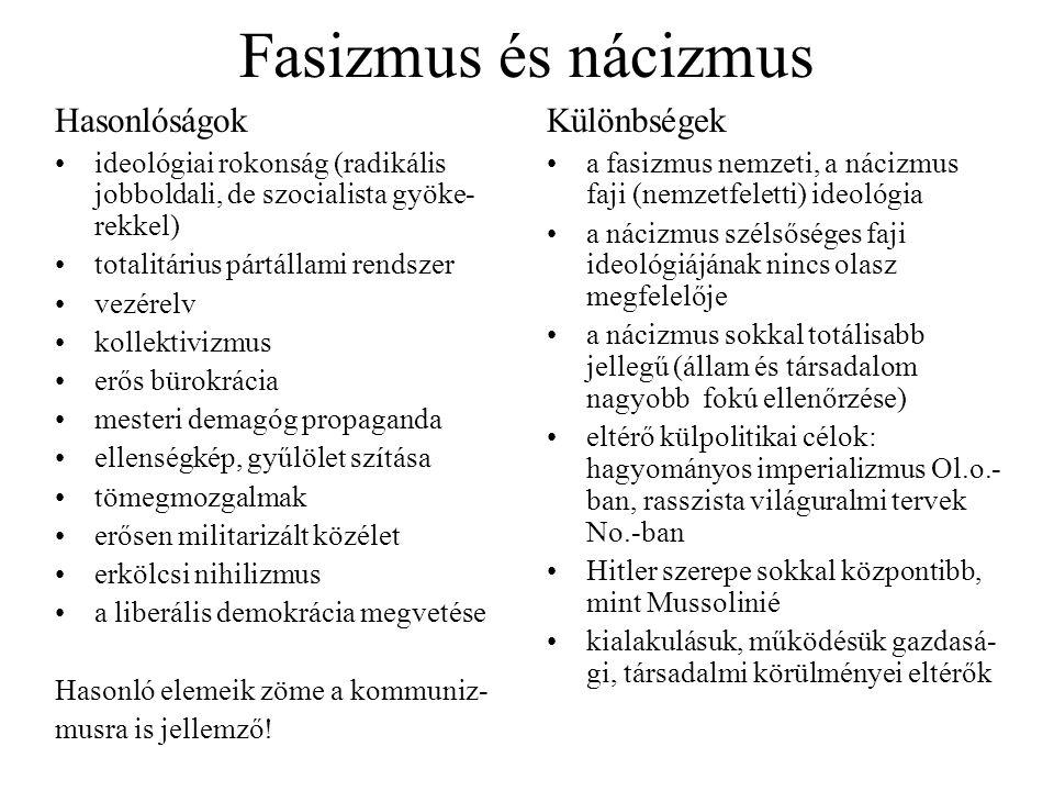 Fasizmus és nácizmus Hasonlóságok Különbségek