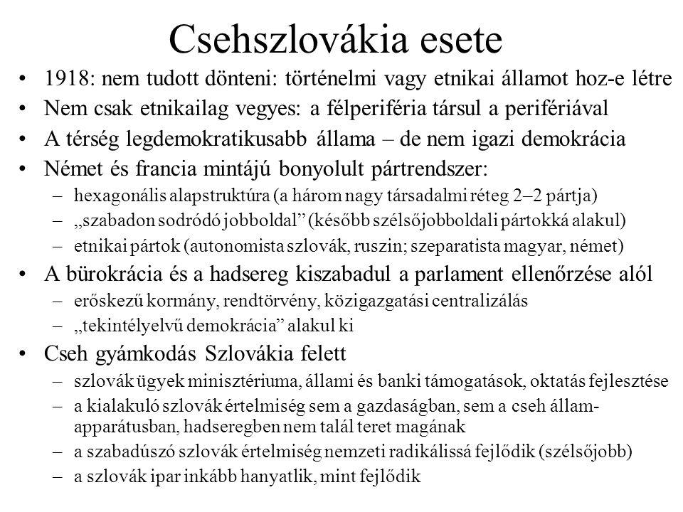 Csehszlovákia esete 1918: nem tudott dönteni: történelmi vagy etnikai államot hoz-e létre.