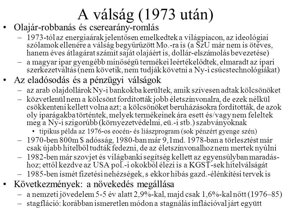 A válság (1973 után) Olajár-robbanás és cserearány-romlás