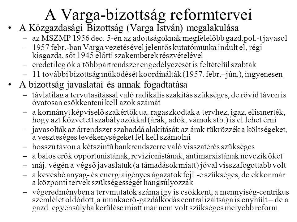 A Varga-bizottság reformtervei