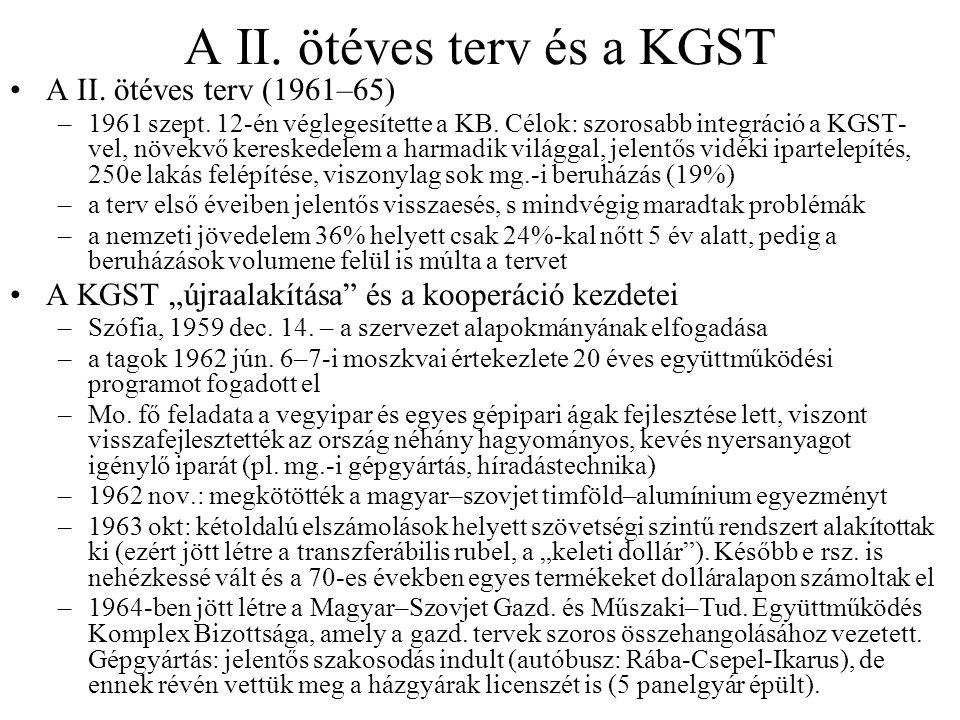 A II. ötéves terv és a KGST