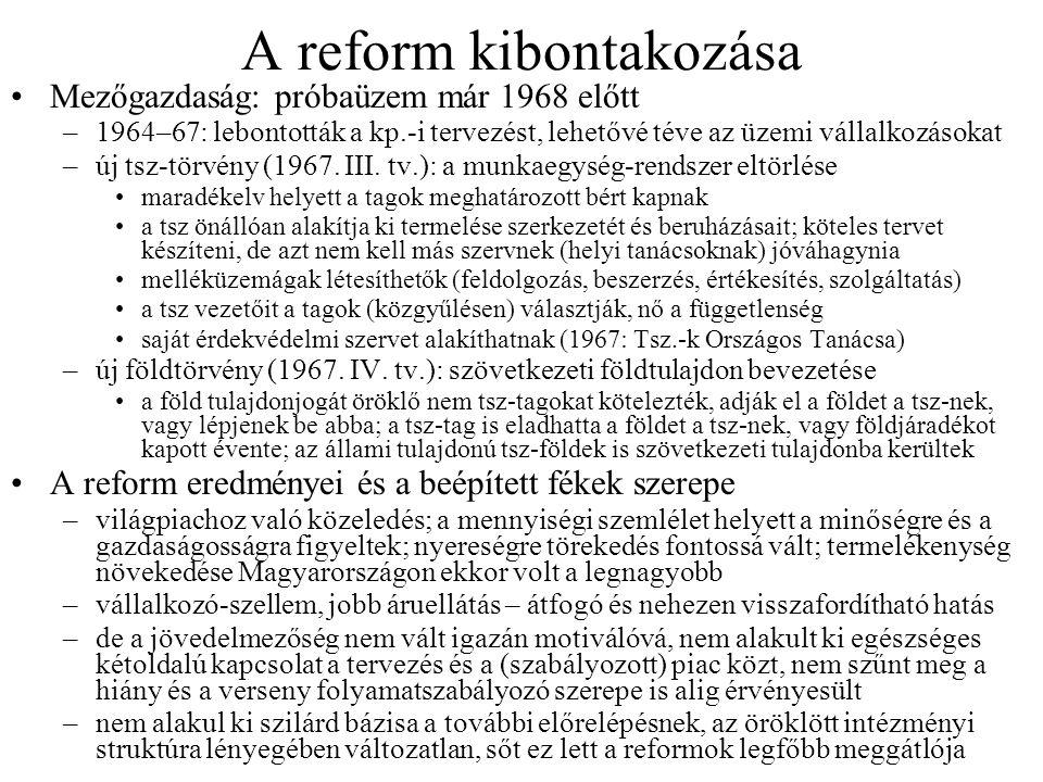 A reform kibontakozása