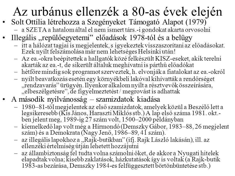 Az urbánus ellenzék a 80-as évek elején