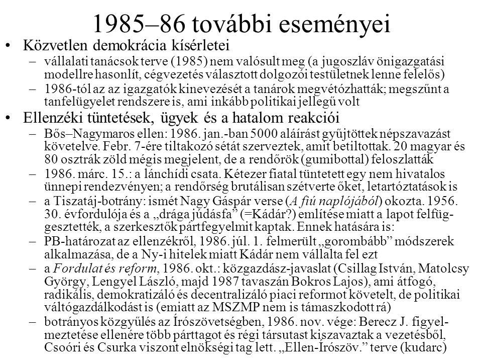 1985–86 további eseményei Közvetlen demokrácia kísérletei