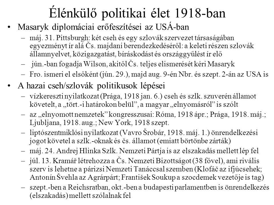 Élénkülő politikai élet 1918-ban