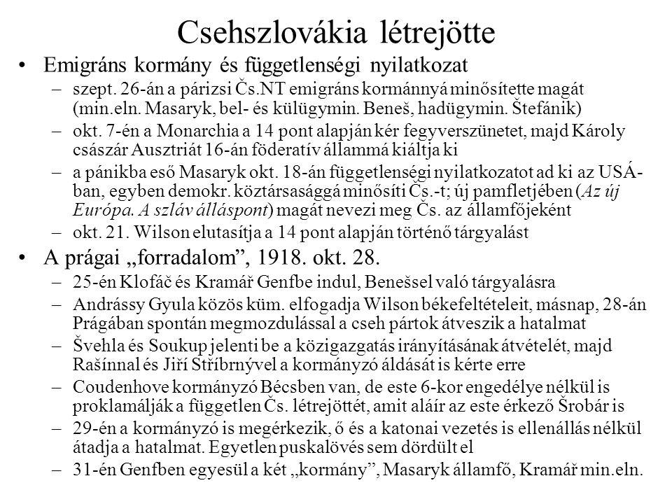 Csehszlovákia létrejötte