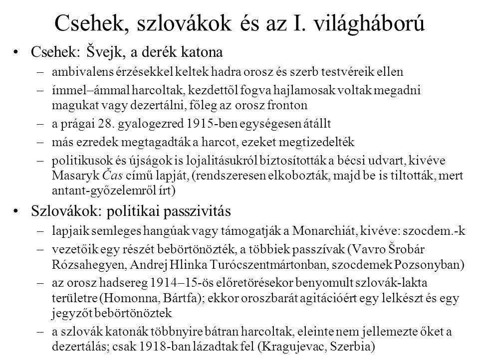 Csehek, szlovákok és az I. világháború