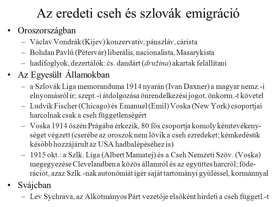 Az eredeti cseh és szlovák emigráció