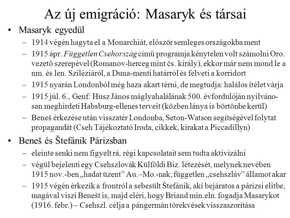 Az új emigráció: Masaryk és társai