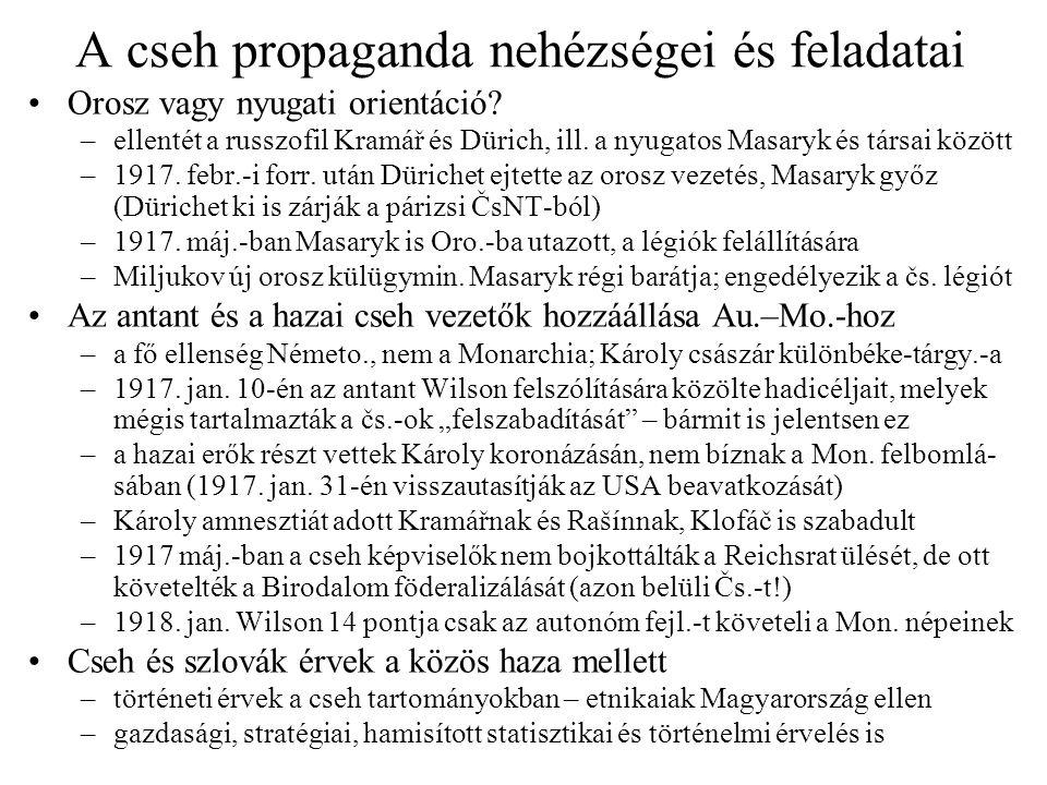 A cseh propaganda nehézségei és feladatai