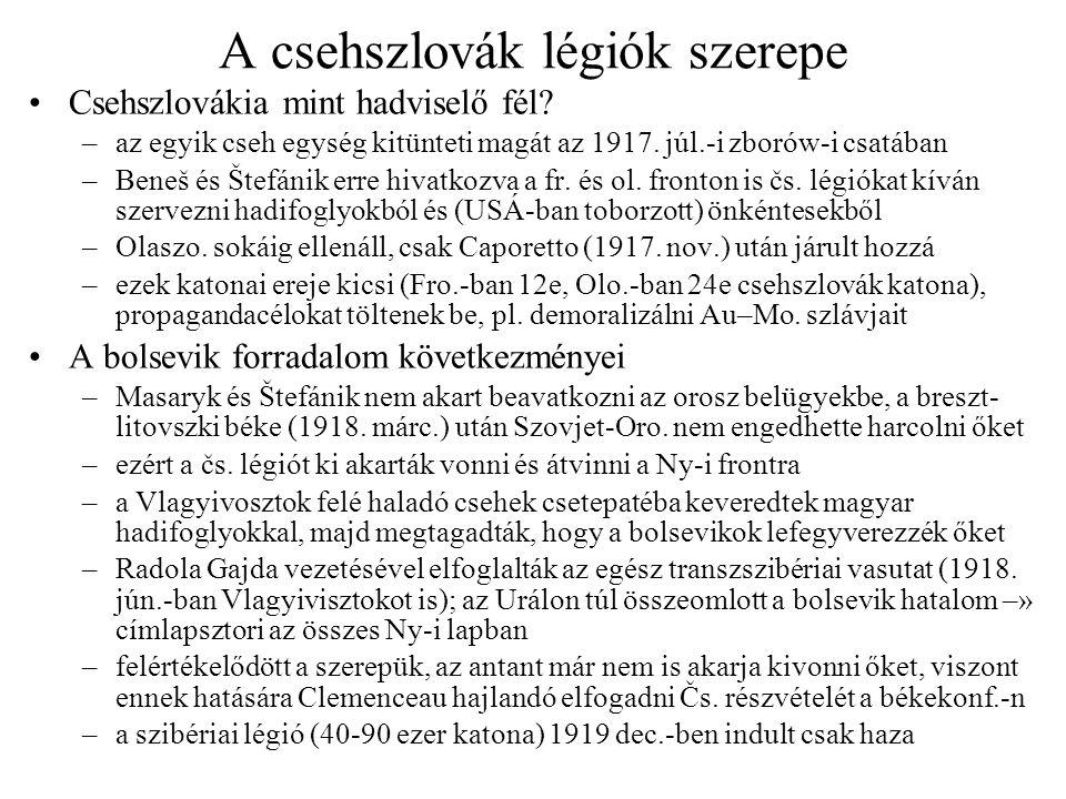 A csehszlovák légiók szerepe