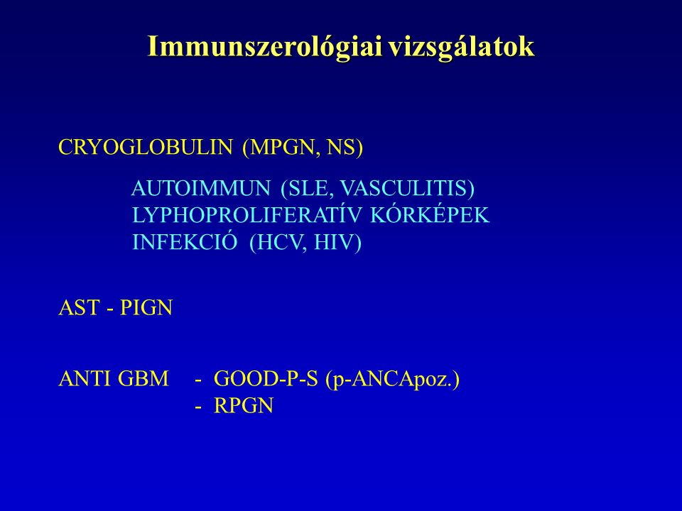 Immunszerológiai vizsgálatok