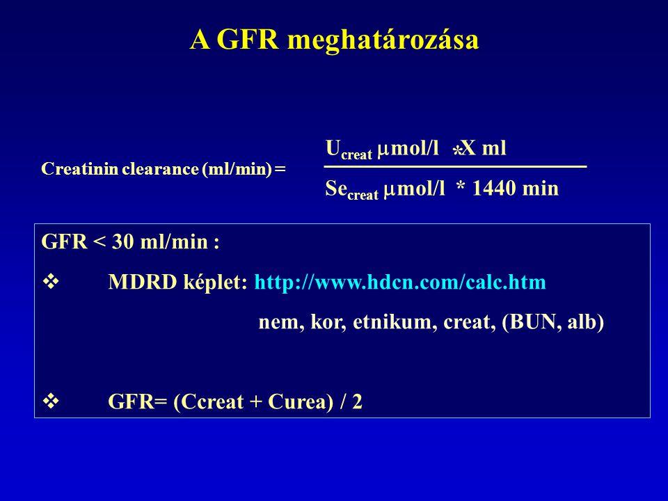 A GFR meghatározása * Ucreat mol/l X ml Secreat mol/l * 1440 min