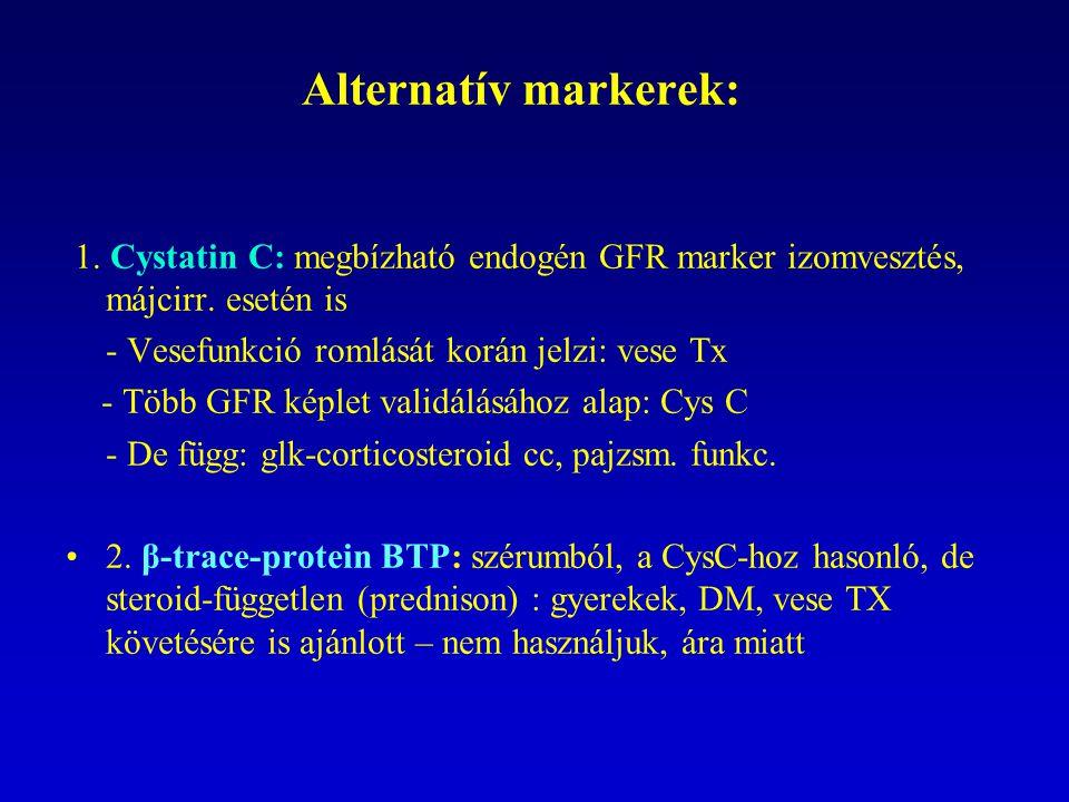 Alternatív markerek: 1. Cystatin C: megbízható endogén GFR marker izomvesztés, májcirr. esetén is.