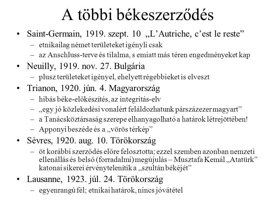 """A többi békeszerződés Saint-Germain, 1919. szept. 10 """"L'Autriche, c'est le reste etnikailag német területeket igényli csak."""
