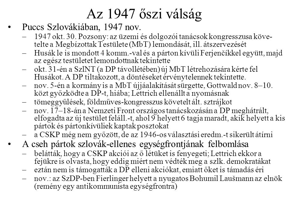 Az 1947 őszi válság Puccs Szlovákiában, 1947 nov.