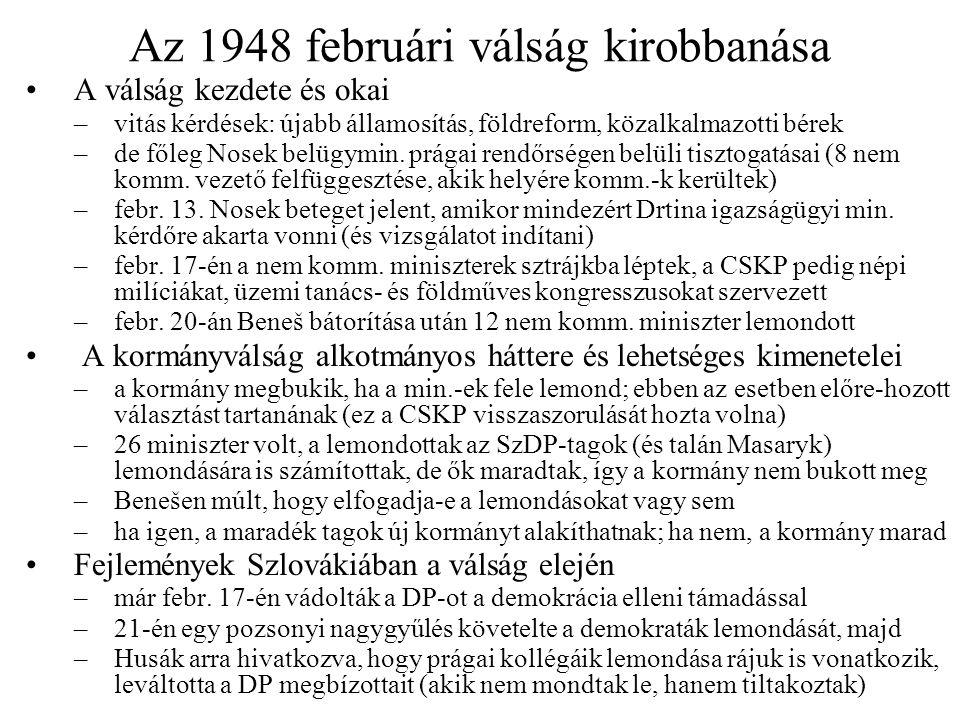 Az 1948 februári válság kirobbanása
