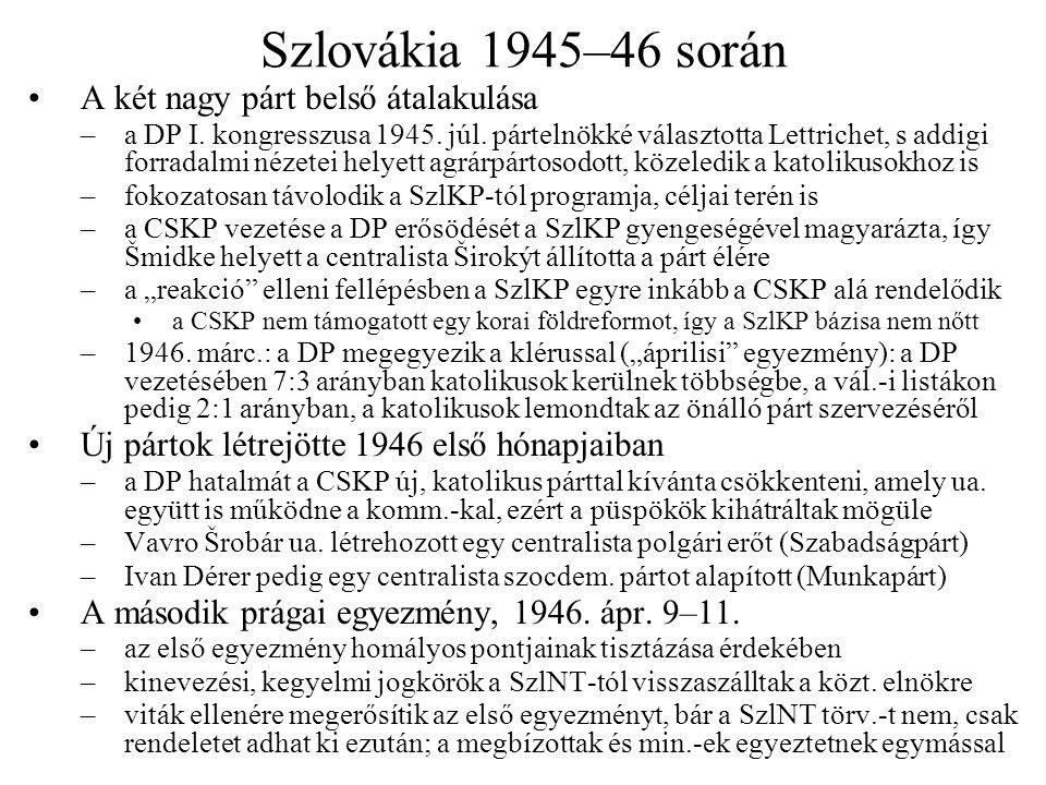 Szlovákia 1945–46 során A két nagy párt belső átalakulása