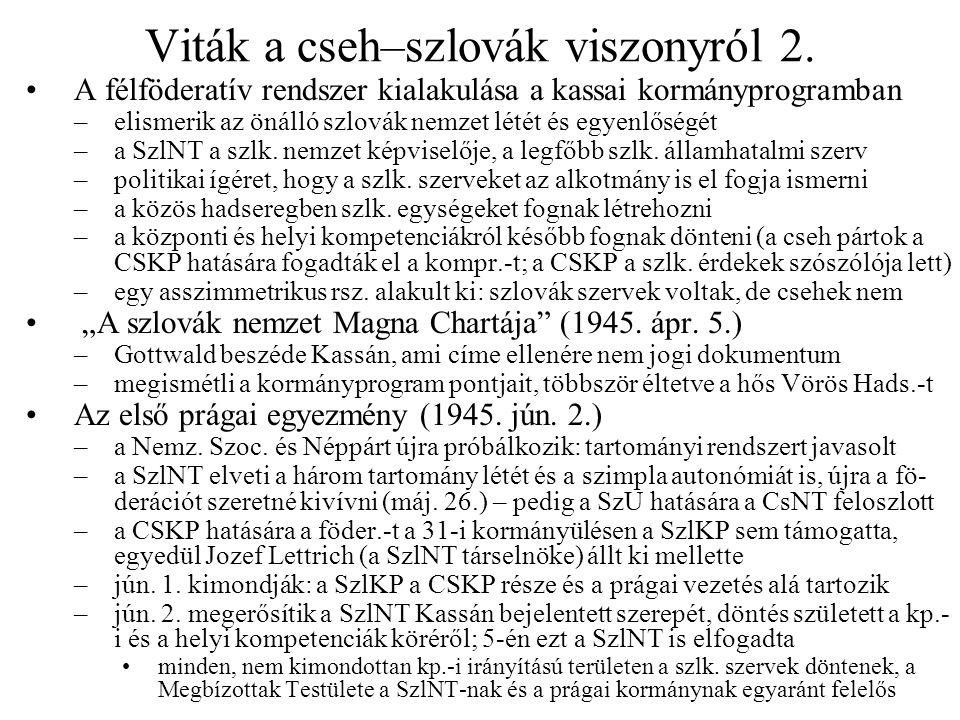 Viták a cseh–szlovák viszonyról 2.
