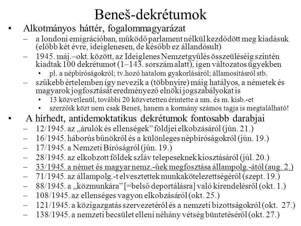 Beneš-dekrétumok Alkotmányos háttér, fogalommagyarázat