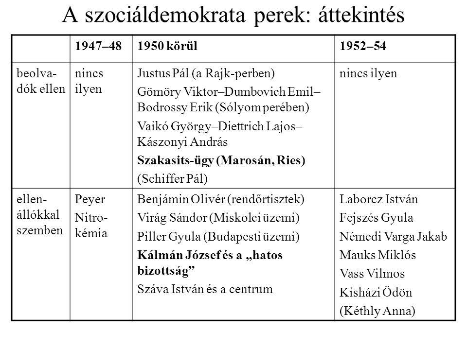 A szociáldemokrata perek: áttekintés