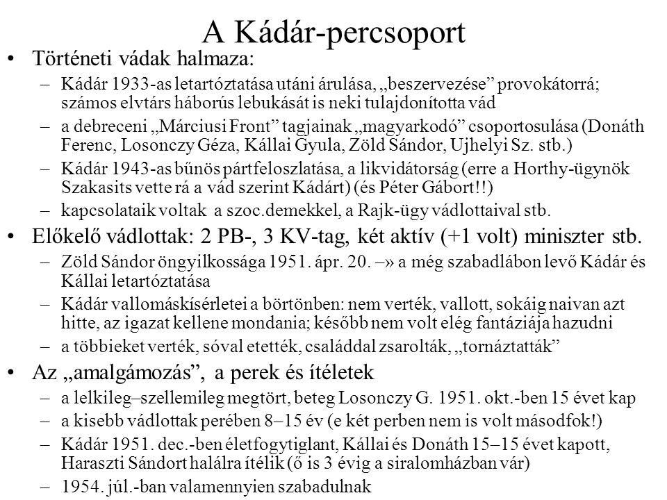 A Kádár-percsoport Történeti vádak halmaza: