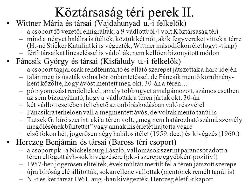 Köztársaság téri perek II.