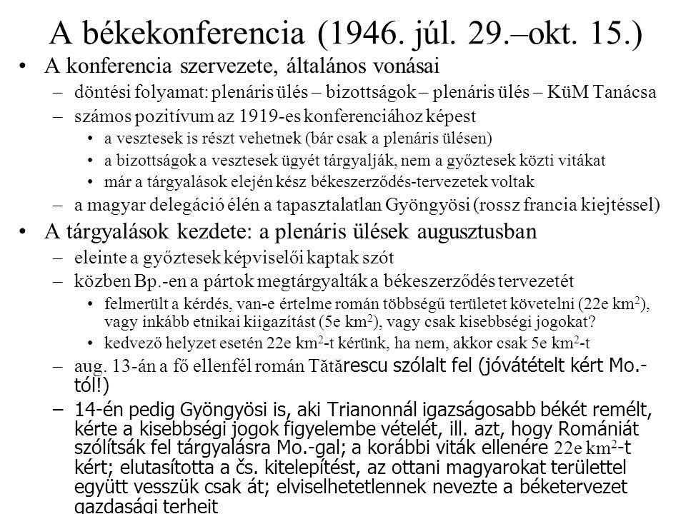 A békekonferencia (1946. júl. 29.–okt. 15.)