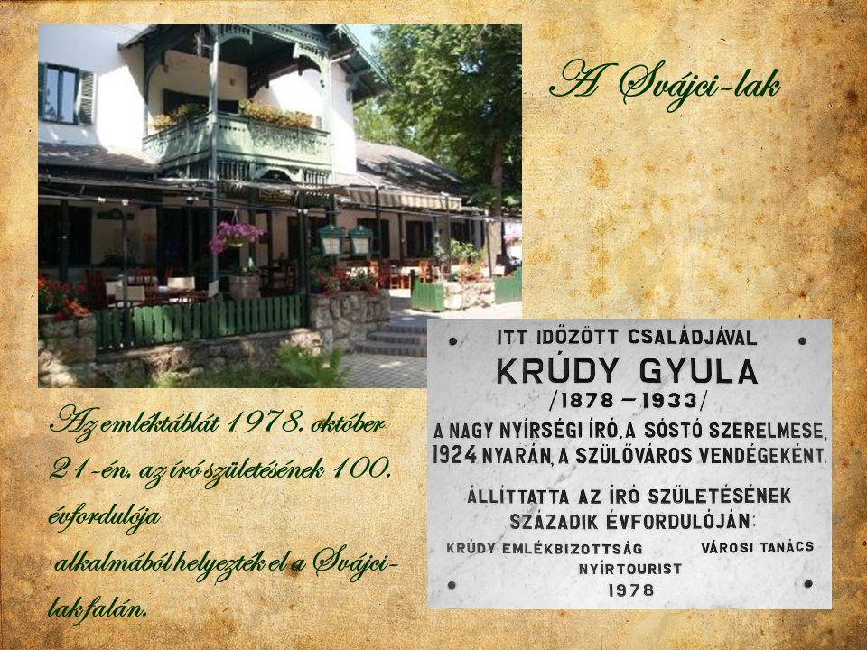 A Svájci-lak Az emléktáblát 1978. október 21-én, az író születésének 100.