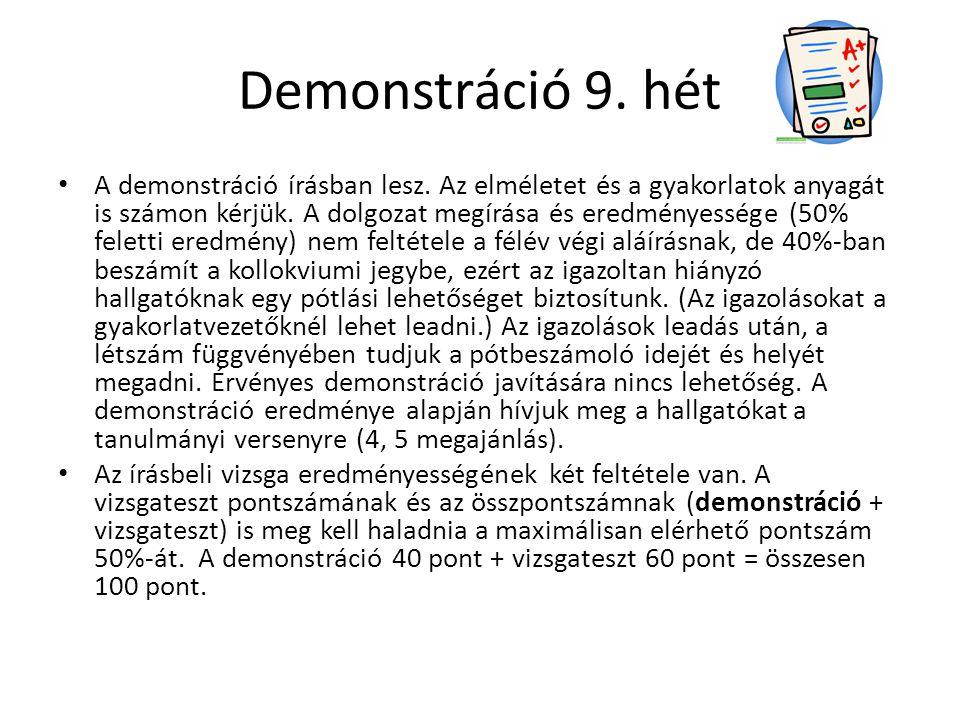 Demonstráció 9. hét