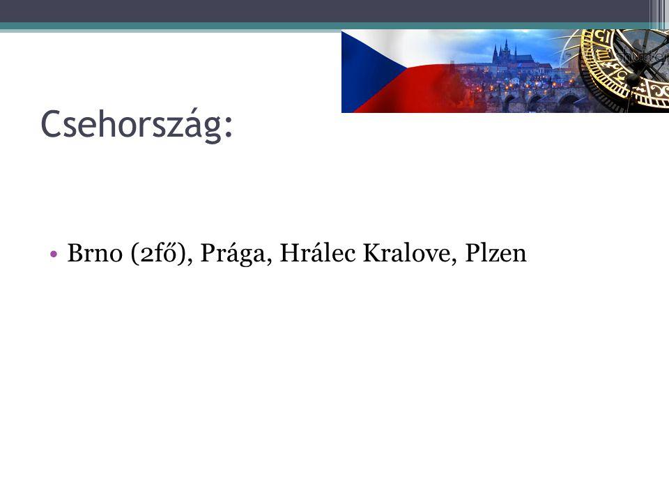 Csehország: Brno (2fő), Prága, Hrálec Kralove, Plzen
