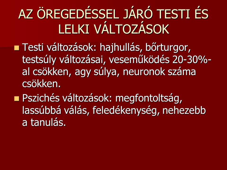 AZ ÖREGEDÉSSEL JÁRÓ TESTI ÉS LELKI VÁLTOZÁSOK