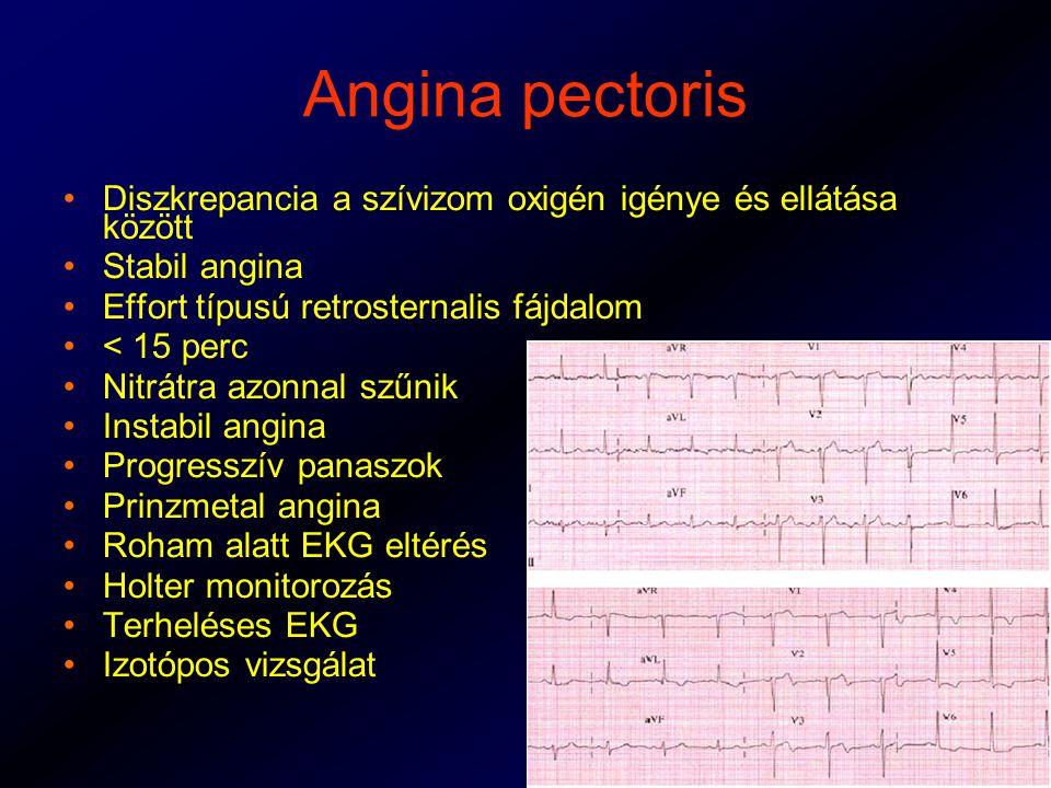 Angina pectoris Diszkrepancia a szívizom oxigén igénye és ellátása között. Stabil angina. Effort típusú retrosternalis fájdalom.