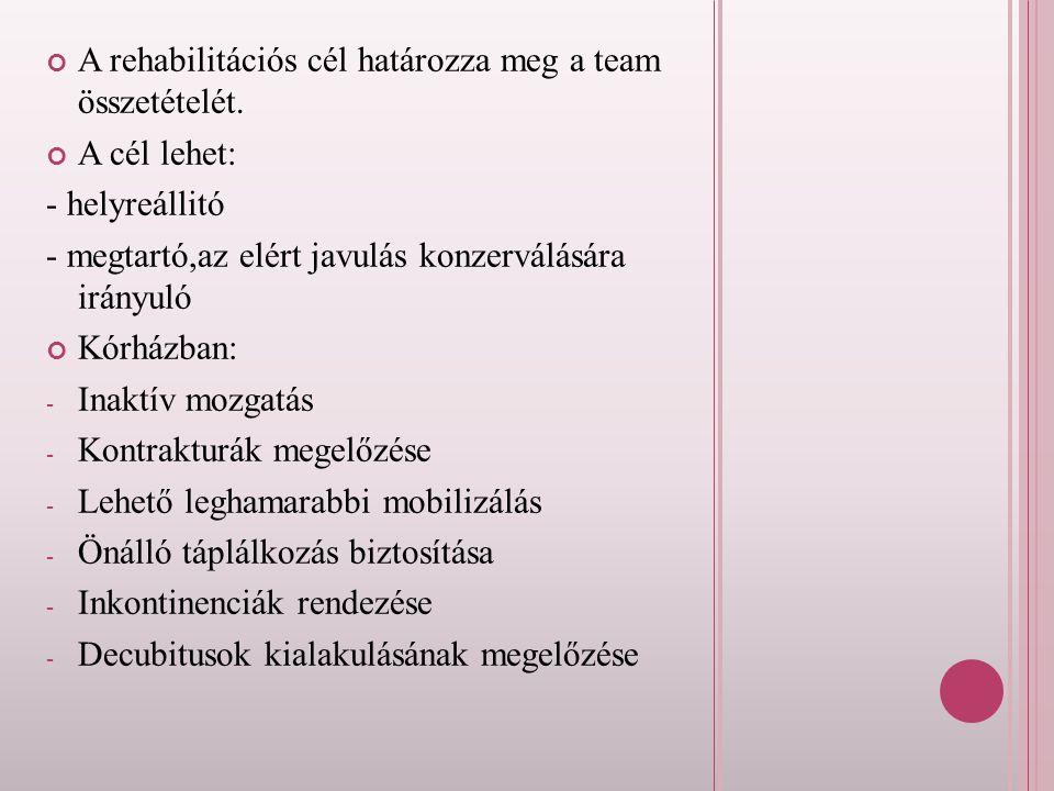 A rehabilitációs cél határozza meg a team összetételét.