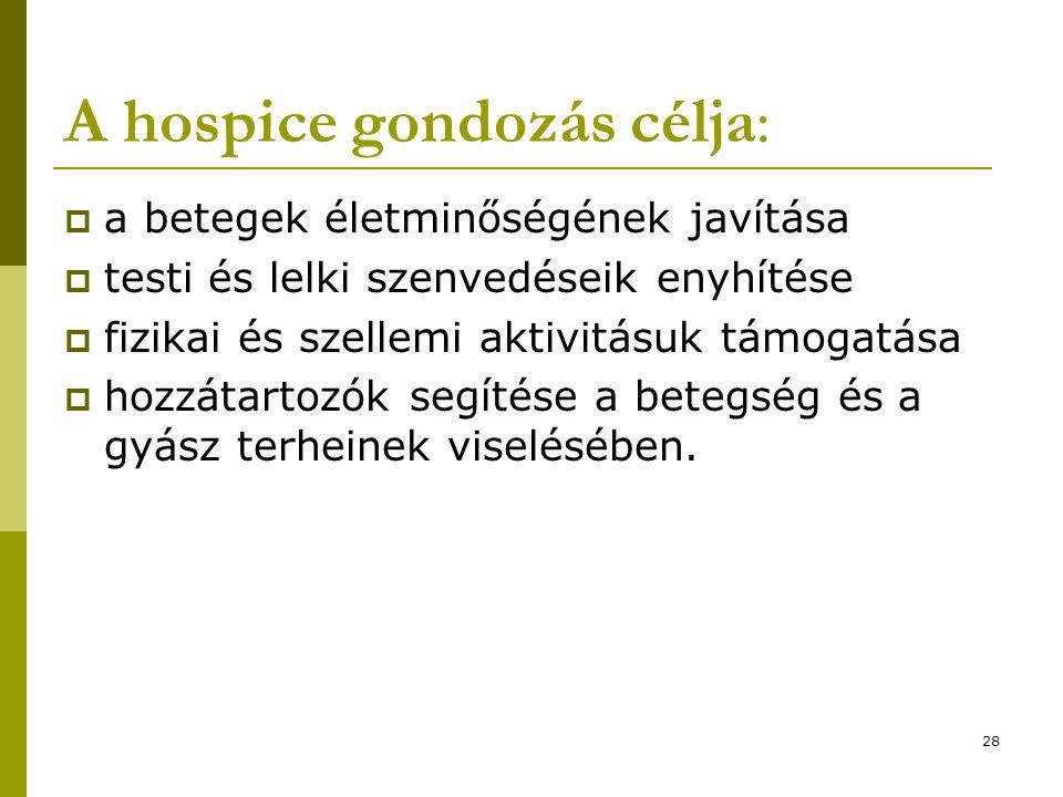 A hospice gondozás célja: