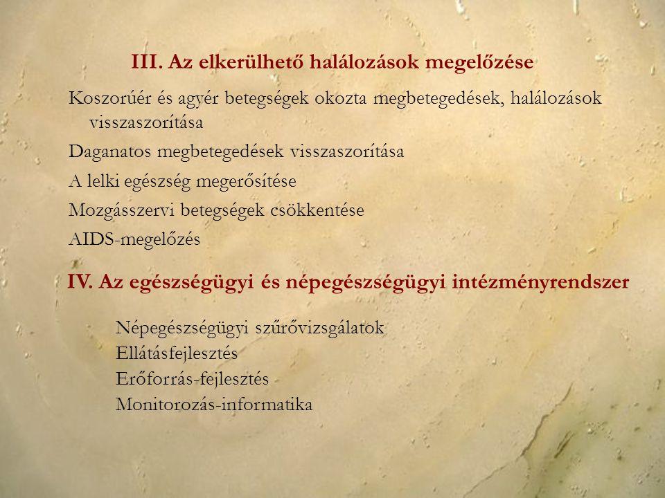 III. Az elkerülhető halálozások megelőzése