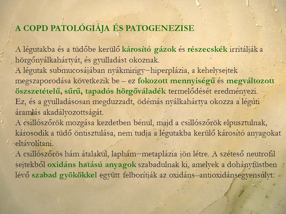 A COPD PATOLÓGIÁJA ÉS PATOGENEZISE