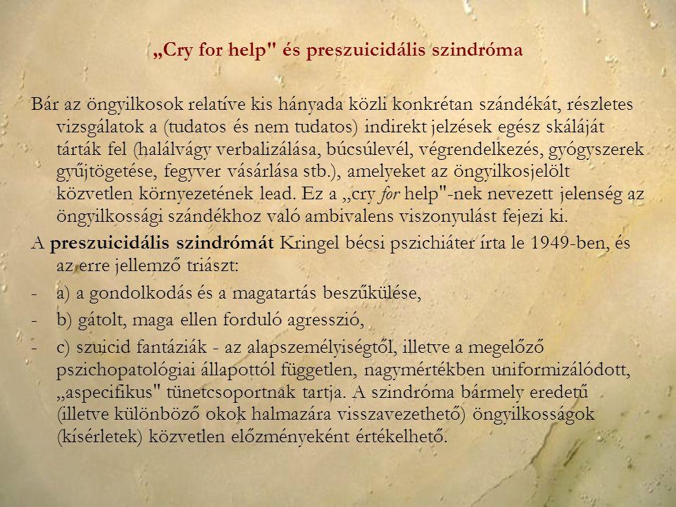 """""""Cry for help és preszuicidális szindróma"""