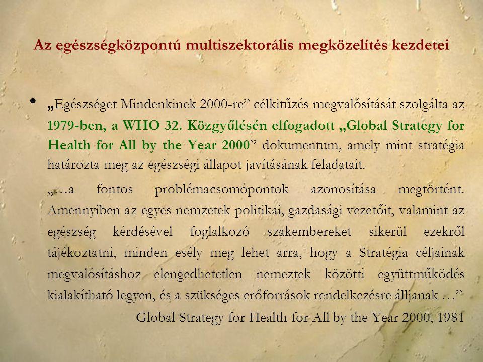 Az egészségközpontú multiszektorális megközelítés kezdetei